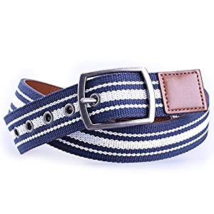 Earnda Mens Casual Leather Belt Black Canvas Fashion Designer Strap