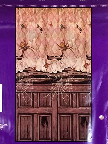 Wall Decor Scary Spider Scene Halloween Door Cover Creepy Mural Prop or Party Decoration -