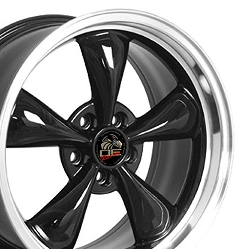 OE Wheels 18 Inch Fits Ford Mustang 1994-2004 Bullitt Style FR01 Black with Machined Lip 18x9 Rim Hollander ()