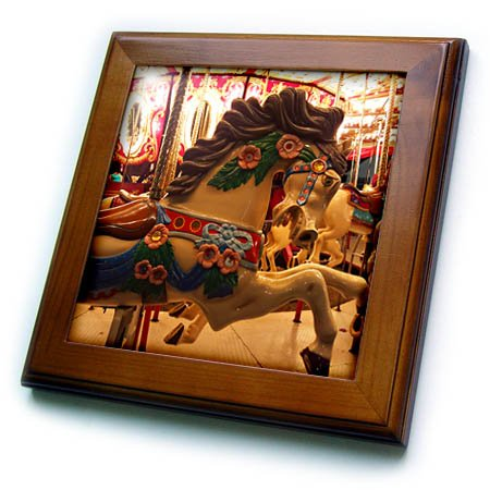 3dRose TDSwhite – Miscellaneous Photography - Merry Go Round Carnival Ride Amusement Park - 8x8 Framed Tile (ft_285276_1)