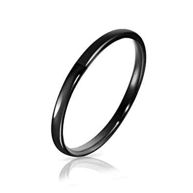 Three Keys Jewelry 2mm Tungsten Carbide Wedding Ring Black Womens Band Engagement Comfort Fit