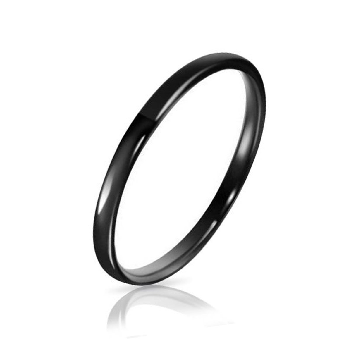 Three Keys Jewelry 2mm Tungsten Carbide Wedding Ring Black Women's Wedding Band Engagement Band Comfort Fit High Polished Classy Domed Size 8