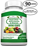 Cheap FOOD BASED Super Daily Multivitamin Supplement Tablets Best For Adult Men Women Seniors With 42 Natural Fruits Vegetables Blend, 21 Essential Vitamins Minerals. Boost Your Immune System And Energy!