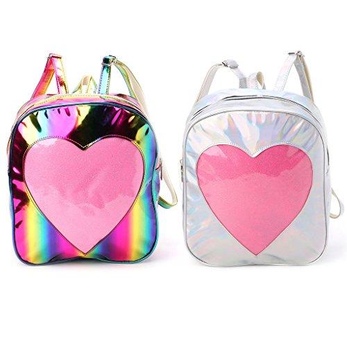 a Bookbags trasparente a Argento tracolla donna cuore spalla da Rainbow borsa di KofunBorsa con forma Zaino viaggio da tracolla arcobaleno a con dR6wE1qdx