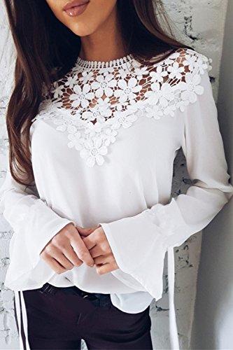 Lace Shirt Ciclo White Donna Collo Chiffon Jumojufol Cordoncino Camicetta T Elegante Top wSXqanz