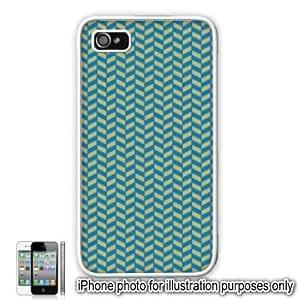 Blue Orange Herringbone Print Pattern Apple iPhone 4 4S Case Cover Skin White