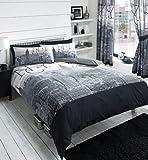 NEW YORK CITY SKYLINE - BLACK & GREY PRINTED DUVET COVER BED SET (double)