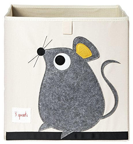 3 Sprouts Organizer Container Cube Storage Box for Kids & Toddlers, Grey Mouse
