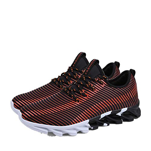 Man Shoes Breathable Casual Man Sneakers Autumn Outdoor Comdortable Trainers Footwear Fashion Chaussures Hommes,Orange and Black,8.5 (Brookhaven Leather)