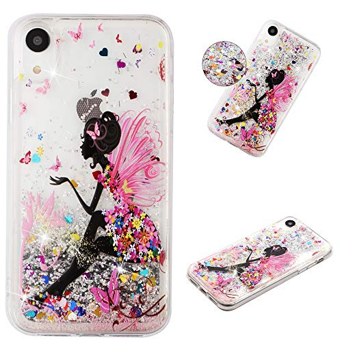 - MerKuyom [Crystal Floating Liquid] Case for Apple iPhone XR 6.1-inch, Soft TPU Transparent Flowing 3D Bling Sparkling Glitter Case Cover + Stylus (Pink Butterfly Flowers Girl, for iPhone XR)