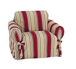 Classic Slipcovers Printed Classic Stripe Canvas Chair Slipcover, Red