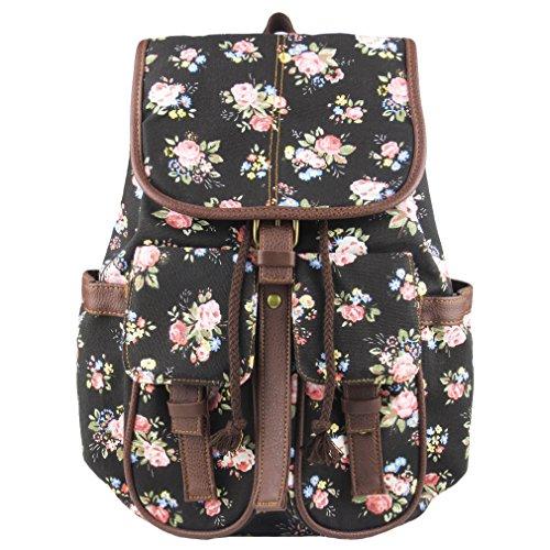 Vintage Floral Ladies Canvas Bag School Bag Backpack - 8