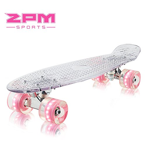 2pm Sports Paco Complete 22 inch Mini Cruiser Skateboards - Clear Small Banana Board with Glow Light up Wheels for Kids Boys Girls - Pink Wheels (Small Cruiser)