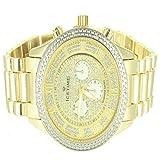 Golden Steel Back Men IceTime Designer Triple Dial Roman Classy Watch Bling Ice