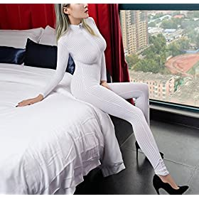 Zukzi Womens Zipper Front Long Sleeve Full Bodysuit Stripe Tight Jumpsuit