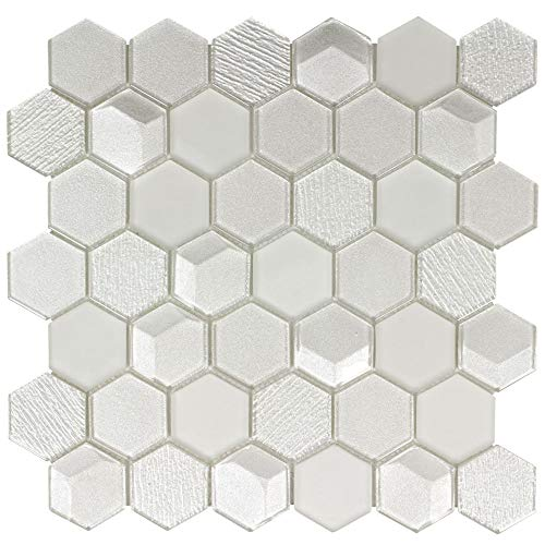 MTO0302 | Modern Hexagon White Glass Mosaic Tile