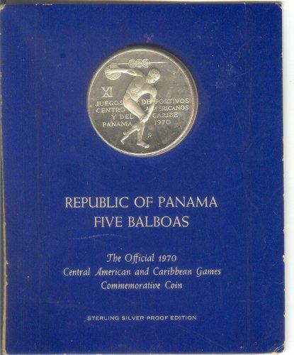 REPUBLIC OF PANAMA FIVE BALBOAS STERLING SILVER .925 FINE COMMEMORATIVE COIN DATED 1970