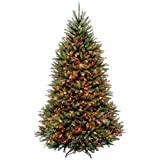 National Tree 7 1/2 Foot Hinged Dunhill Fir Tree with 750 Multi-Colored Lights, CSA (DUH3-75RLO-4)
