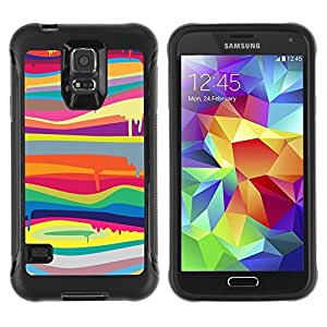 Suave TPU Caso Carcasa de Caucho Funda para Samsung Galaxy S5 SM-G900 / blob paint dripping colors lines pattern / STRONG