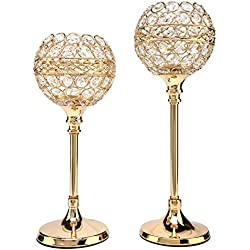 "Easeurlife Gold Crystal Candle Holders Set of 2 Pack(Gold, 11.8"" & 13.8"")"