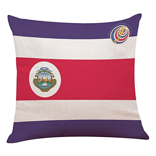 Price comparison product image Birdfly 2018 FIFA National Team Flag Print Throw Pillow Covers Linen Square Cushion Cases Decorative Pillowcase for Sofa Car Cafe Bar Football Club Party Home Decor(Costa Rica)