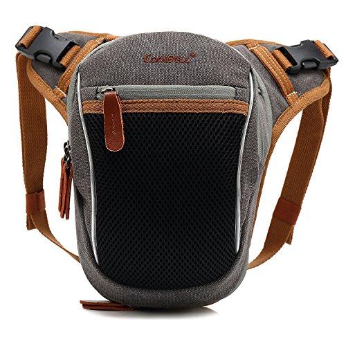 g Bag Tactical Bag Canvas Messenger Bag Small Hiking Waist Bag Thigh Bags for Bike Cycling Fishing, Grey ()