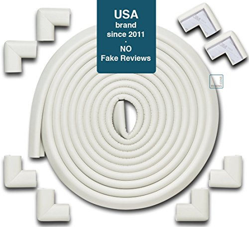 Roving Cove | Baby Proofing Edge & Corner Guards | Safe Edge & Corner Cushion | Child Safety Furniture Bumper | Table Protectors | Pre-Taped Corners | 20.4 ft [18 ft Edge + 8 Corners] | Oyster color - Edge Protection