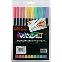 Uchida 1122-12B Le Plume II Double-Ended Markers with Brush and Fine Tips, Pastel, Set of 12