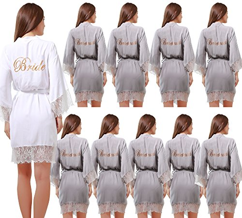 Set of 10 Women's Cotton Kimono Robes Wedding Party Gifts for bride and Bridesmaid with Lace Trim by GoldOath