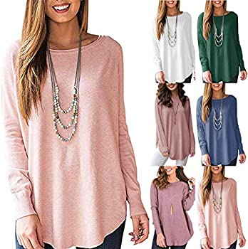 Zippem Womens Fashion O Neck Long Sleeve Solid Top