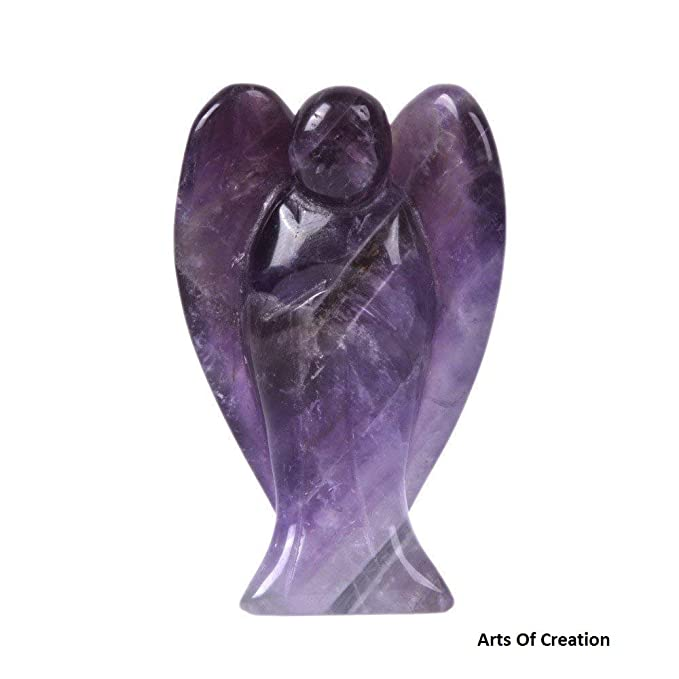 """Natural gemstone healing crystal amethyst angel approx 1/"""" tall with pouch"""