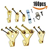 Picture Hangers, 160 Pcs Metal Photo Frame Hanging Kit Picture Mount Holder Hook with Nails & Screws & Cleaning Cloth Gift