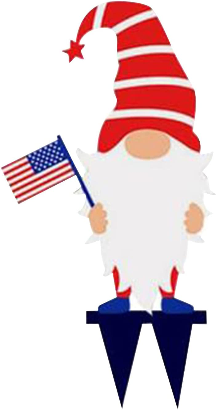 Independence Day Acrylic Gnome Garden Art Inserts,4th of July Welcome Courtyard Sign Patriotic Dwarf Figurine Ornament,Pathway Patio Yard Lawn Porch Decoration (A)