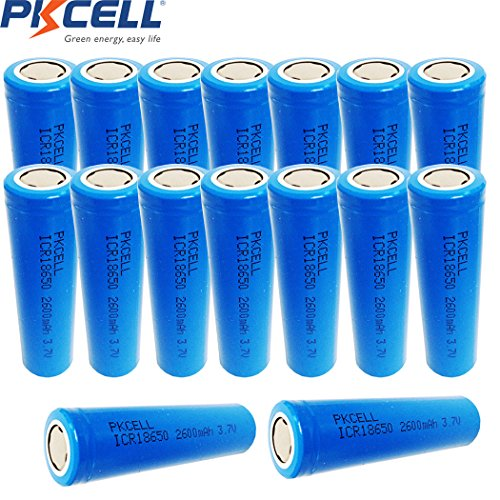 PKCELL 3.7V ICR18650 2600mAh 18650 Rechargeable Battery Flat Top (16PC) by PK Cell
