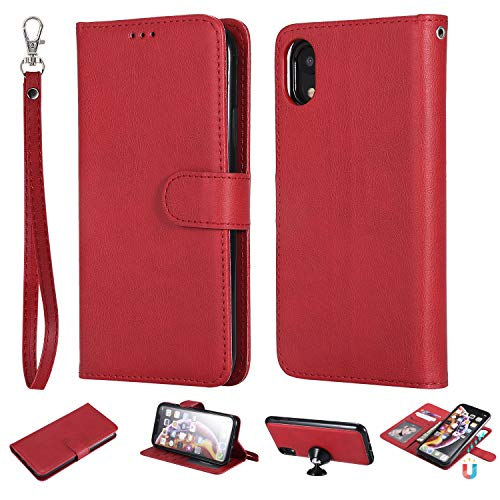 Ostop Wallet Case for iPhone Xr,Hot Red Premium PU Leather Case with Card Holder Magnetic Detachable Slim Fit Stand Flip Cover Full Body Protection for iPhone Xr 6.1