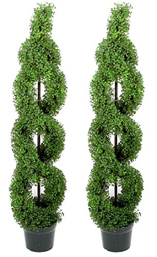 Admired By Nature Plastic Pot 5 Artificial Boxwood Leave Double Spiral Topiary Plant Tree, Twin Pack