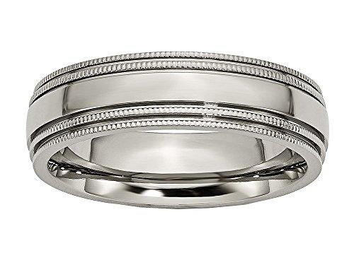 Chisel Titanium Grooved and Beaded Edge 6mm Polished Wedding Band Size 11 (Beaded Polished Ring Titanium)