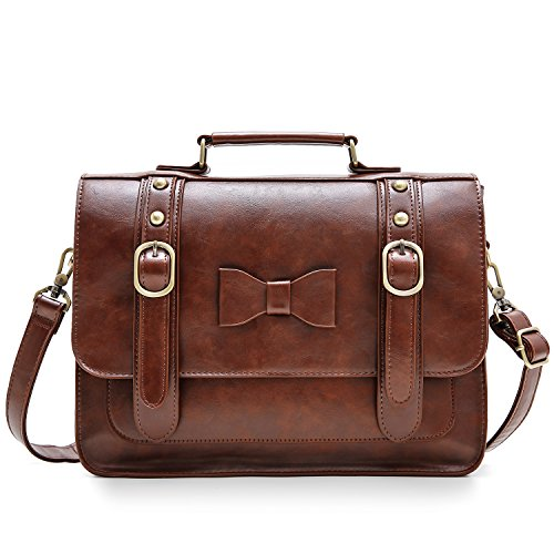 ECOSUSI Women Vintage Faux Leather Messenger Shoulder Satchel Weekender Fashion Bag, Dark Brown
