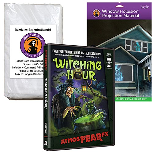 AtmosFEARfx Witching Hour Halloween Digital Decoration DVD with Hollusion (W) + Reaper Bros Window Projection Screens