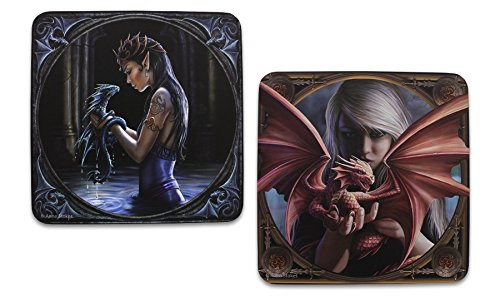 Anne Stokes Lot de 2?dessous-de-verre???Dragon d'eau et Anne Stokes Collection Dragonkin Half Moon Bay