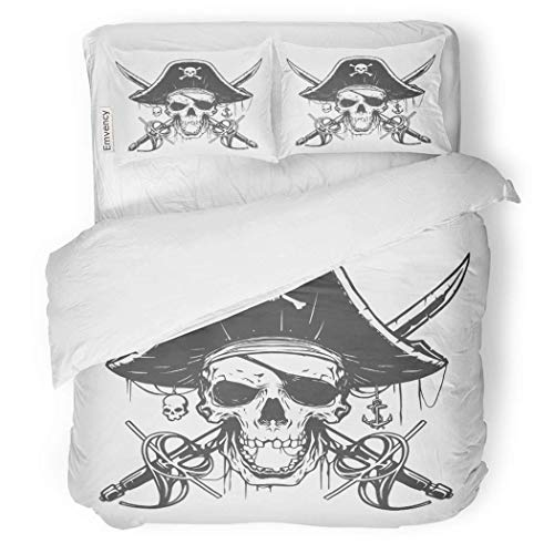 PENGTU PremiumDuvet Cover Set Sword Skull Pirate Flag Hat Tattoo Anchor Caribbean Decorative Bedding Set with Pillow Case Twin Size ()
