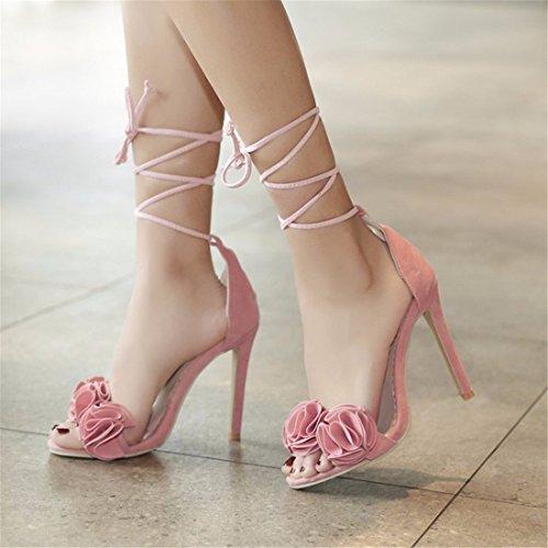 Romana Mujer Mujer Alto Sandalias de amarrar Mujer Sandalias Grandes de Zapatos Tacón Zapatos de Sandalias Pink de Astilleros qaO17z7w