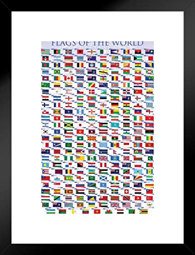 Pyramid America Flags of The World Classroom Educational Chart Nations National Countries Symbol Matted Framed Poster 20x26 inch