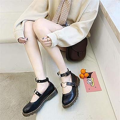 Japanse Harajuku Sweet Lolita Shoes PU Leather Heart Strap Mary Jane Flat Shoes   Shoes