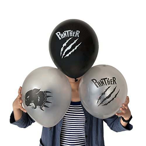 Black Panther Balloons, Children Birthday Party Supplies, Superhero Party Decorations for Boys, 24pcs latex Silver, Black]()