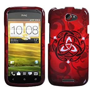 IMAGITOUCH(TM) HTC One S Red Celtic Ring Knot Phone Hard Case Protector Faceplate Cover 3-Item Combo (Stylus Pen, Pry Tool, Phone Cover)