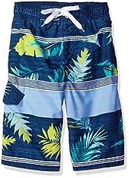 Kanu Surf Little Boys\' Condor Stripe Floral Swim Trunk, Navy, Medium (5/6)