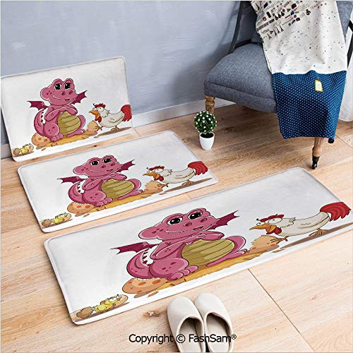 3 Piece Flannel Bath Carpet Non Slip Illustration of Hen Chicken and Baby Dinosaur Wings out from Egg Kids Childrens Print Front Door Mats Rugs for Home(W15.7xL23.6 by W19.6xL31.5 by W15.7xL39.4)
