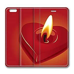 Candle Heart iPhone 6 Plus 5.5inch Leather Case, Personalized Protective Slim Fit Skin Cover For Iphone 6 Plus [Stand Feature] Flip Case Cover for New iPhone 6 Plus