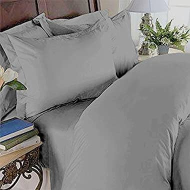 Solid Grey 300 Thread Count King/California King Size 3PC Duvet Cover Set 100 % Egyptian Cotton with button enclosure